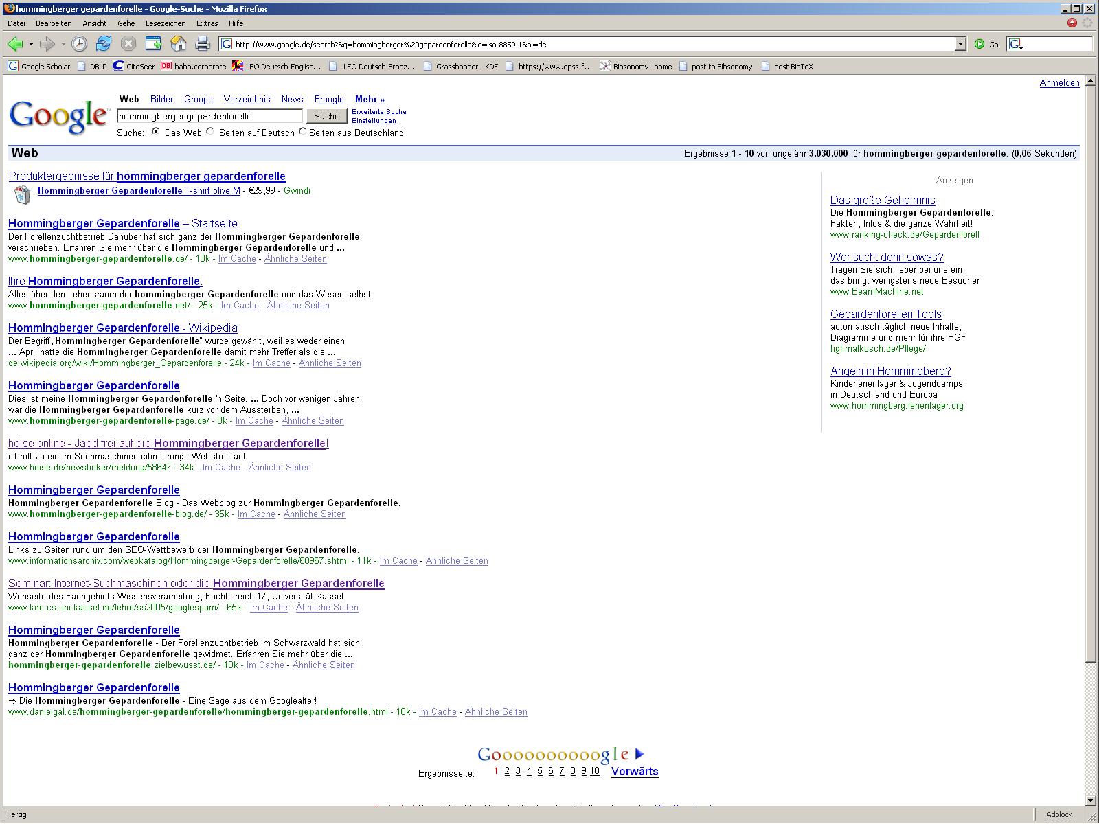 Seminar: Internet-Suchmaschinen oder die Hommingberger Gepardenforelle